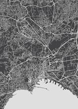 City Map Naples, Monochrome Detailed Plan, Vector Illustration