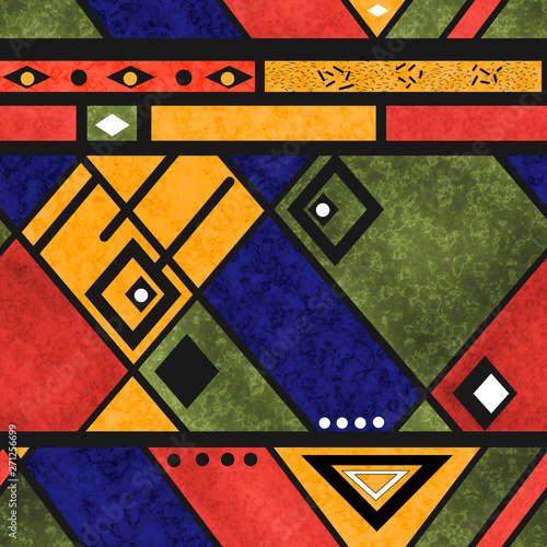 Photo Seamless african ethno traditional texture pattern