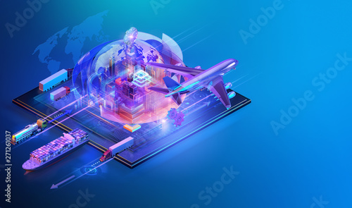 canvas print motiv - Corona Borealis : Isometric global cargo logistic website background design. Maritime, air shipping transport logistic, warehouse storage concept, export, import, trading, cargo international delivery, distribution. 3D