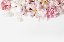 Close Up Of Fading Peonies And Pink Rose Flowers Petals Isolated On White Table Background. Floral Frame Composition. Decorative Web Banner. Styled Stock Photo. Empty Space, Flat Lay, Top View.