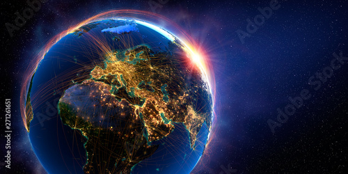 Detailed flight routes on Earth. 3D rendering Wallpaper Mural