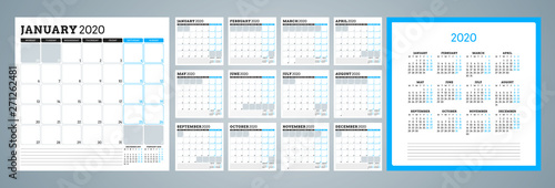 Obraz Calendar planner for 2020 year. Week starts on Monday. Set of 12 months. Printable vector stationery design template - fototapety do salonu