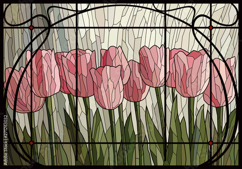 Naklejki witrażowe  stained-glass-light-pink-tulips-in-a-frame-vector-graphics-mosaic-full-color-imitation-of