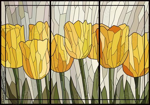 Naklejki na szyby  zolte-tulipany