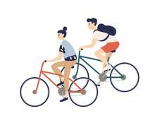 Cute Romantic Couple Riding Bi...