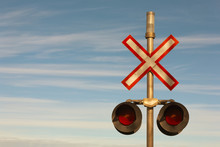 Railroad Crossing Signal Lights And Sign.