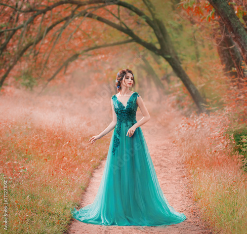 Tablou Canvas incredible cute sea princess walks through a red fairy forest alone, a magic fai