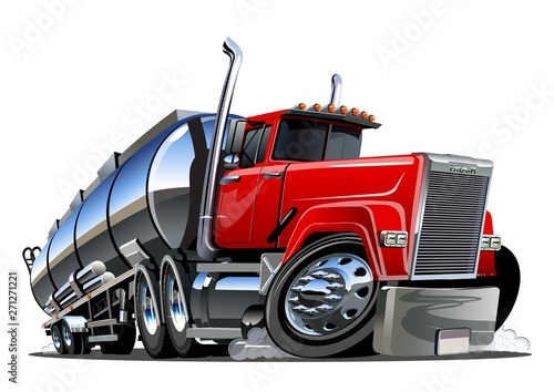 Garden Poster Cartoon cars Cartoon semi tanker truck isolated on white background
