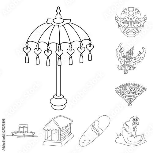 Poster de jardin Oiseaux en cage Vector design of balinese and caribbean sign. Set of balinese and geography vector icon for stock.
