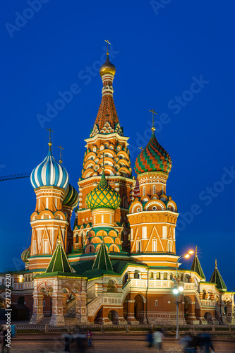 Keuken foto achterwand Moskou St Basil's cathedral on Red Square at night, Moscow, Russia