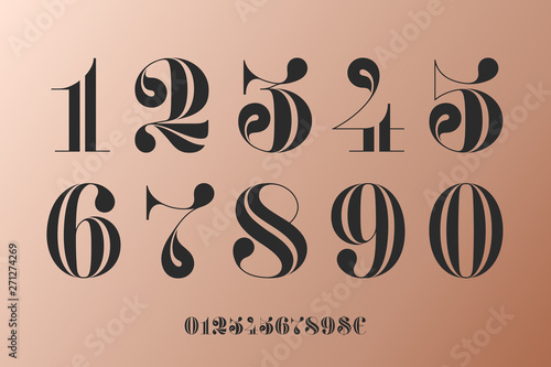 Fotomural Font of numbers in classical french didot