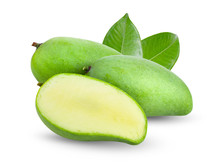 Green Mango With Leaf Isolated...