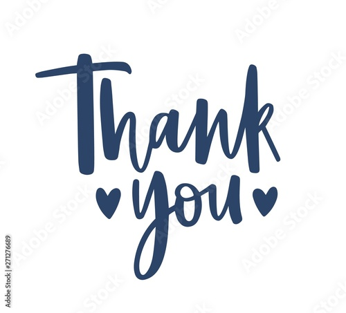 Thank You Word Handwritten With Cursive Calligraphic Font