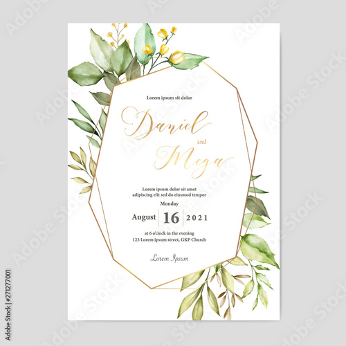 watercolor floral and leaves wedding card template