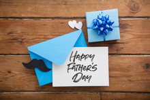 Father's Day Card And Envelope With Mustache, Hearts And Present
