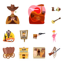 Vector Illustration Of Wild And West Sign. Set Of Wild And American Vector Icon For Stock.