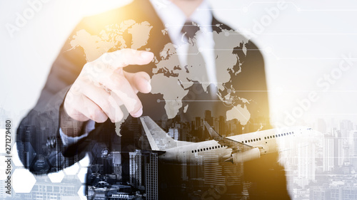 Fotografija  Successful businessmen in the air transport business, worldwide transportation, International transportation concept