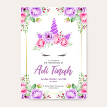 Unicorn Birthday And Invitation Card With Floral Wreath