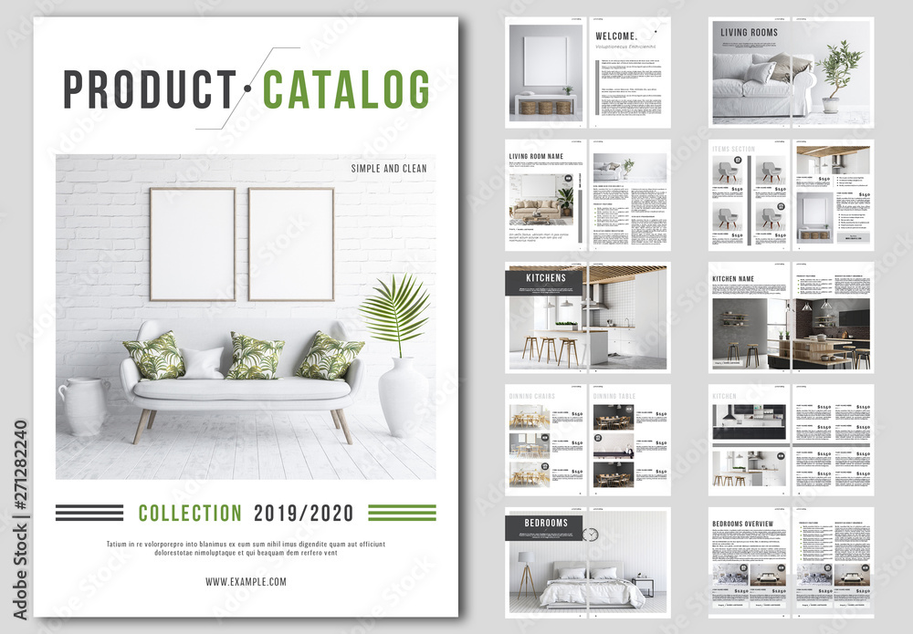 Fototapety, obrazy: Product Catalog Layout with Green and Gray Accents