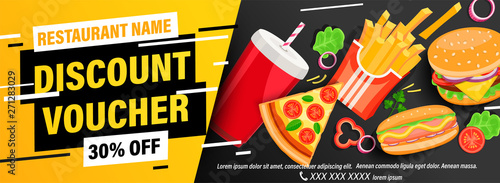 Photo Dynamic discount voucher with 30 percent price off for restaurans and cafes