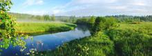 Sunny Hazy Panoramic Landscape...