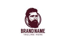 Vector Hipster Man Logo. Stylized Man Head With Beard Illustration For Logo Design.