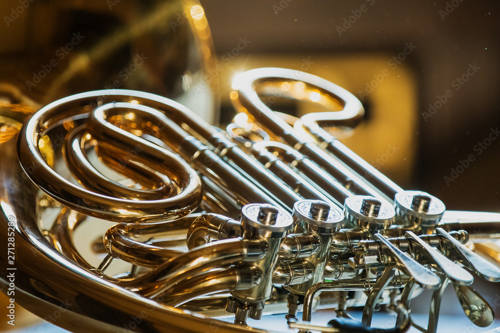 Fototapeta french horn during a classical concert music, close-up.
