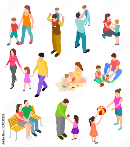 Photo sur Toile Les Textures Isometric family. Children parents in different home and outdoor activity. 3d people families vector set. Illustration of isometric family pastime, parents and children