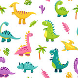 Fototapeta Dino - Dinosaur seamless pattern. Cartoon cute baby dino funny monsters jurassic wild animals dragon dinosaurs vector kids textile art. Illustration of dragon and dino fabric pattern, animal reptile