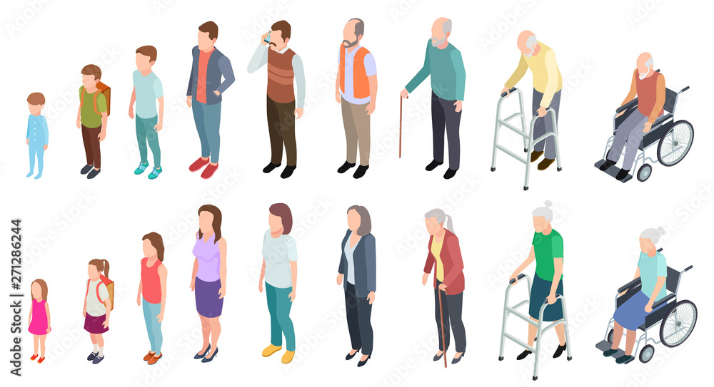 Fototapeta Different generations. Isometric people adult female male characters kids girl boy old man woman human age evolution stages vector set. Illustration of human process aging