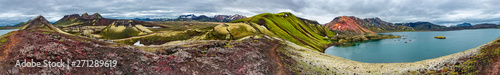 Foto auf Leinwand Insel 360 degrees panoramic view of colorful rhyolite volcanic mountains Landmannalaugar, Frostastadavatn Highland lake and reddish crater Stutur as pure wilderness in Iceland