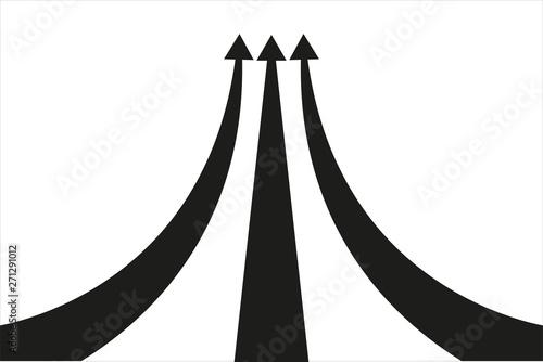 Obraz na plátne  Tres flechas de color negro en crecimiento.