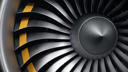 3D ilustracija mlazni motor, lopatice mlaznog motora izbliza. Pogled s prednje strane lopatica mlaznog motora. Rotirajuće lopatice turbomlaznog motora. Dio zrakoplova. Oštrice na krajevima obojene narančastom bojom
