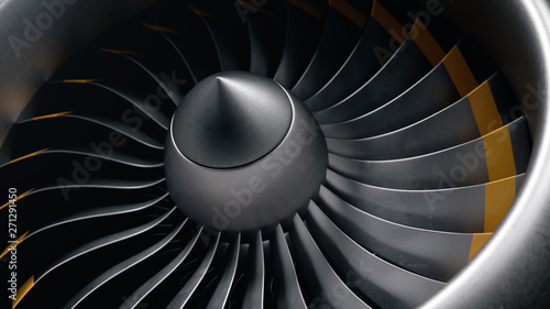 Photographie 3D illustration jet engine, close-up view jet engine blades
