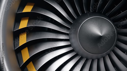 3D illustration jet engine, close-up view jet engine blades Canvas Print