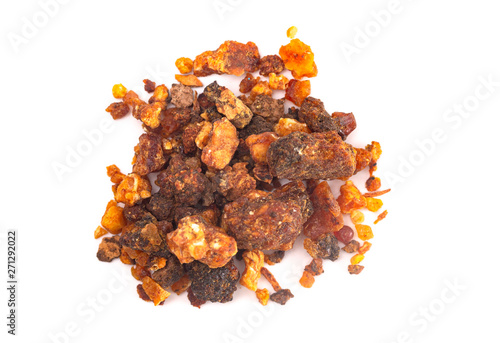 Canvas Print Pile of Sweet Myrrh Opoponax Isolated on a White Background