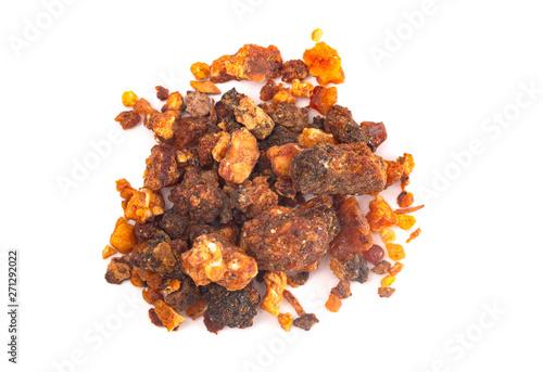Fotografie, Obraz Pile of Sweet Myrrh Opoponax Isolated on a White Background