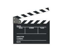 Clapperboard Or Slate Film On White Background With Clipping Path.