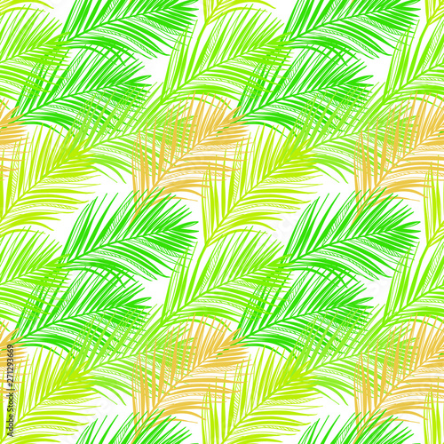 Fotobehang Tropische bladeren vector pattern green tropical leaves summer transparent