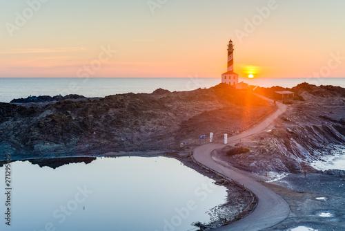 Poster de jardin Europe Méditérranéenne Favaritx Lighthouse in Minorca, Spain.