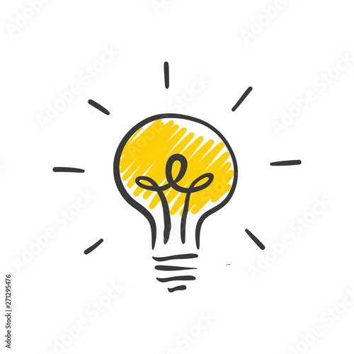 Obraz Light bulb doodle, hand drawn idea icon. - fototapety do salonu