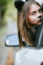 Girl In A Cat's Costume At Hal...