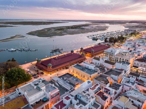 Foto auf AluDibond Dunkelgrau Olhao with two market buildings by Ria Formosa, Algarve, Portugal