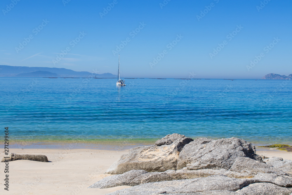 Fototapety, obrazy: landscape of the beach with sea and sand, galicia