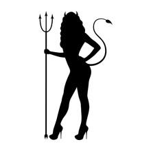 Vector Illustration Black Silhouette Demon Girl