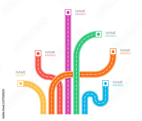 Fotografía  Road tracks direction map top view, colorful vector illustration on white backgroud, web infographic elements