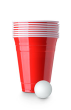 Beer Pong. Red Plastic Cups An...