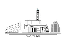 Vector Israel Ierusalem Landscape. Ancient And Modern Buildings. Skyline Detailed Silhouette.
