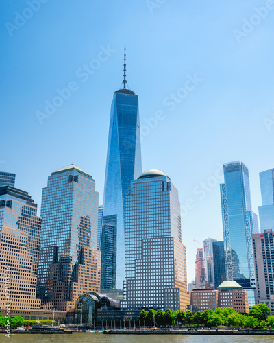 View of Lower Manhattan Skyscrapers. Boat Tour Journey down the Hudson River and East River. New York City