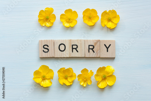 Word sorry and flowers on blue background. Canvas Print